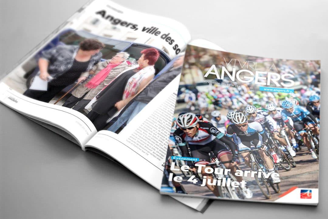Vivre à Anger magazine montage graphiste freelance communication publication mise en page maquettiste